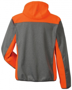 Planam Softshelljacke KONTRAST Outdoor 3732 grau-orange hinten